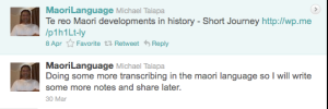 Tweets from Maori language